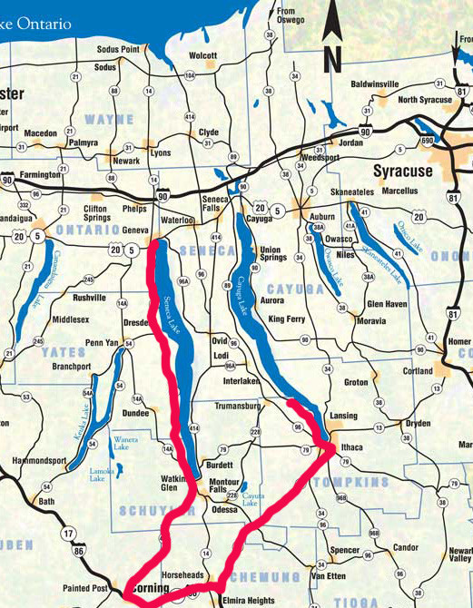 Finger Lakes Map and Itinerary