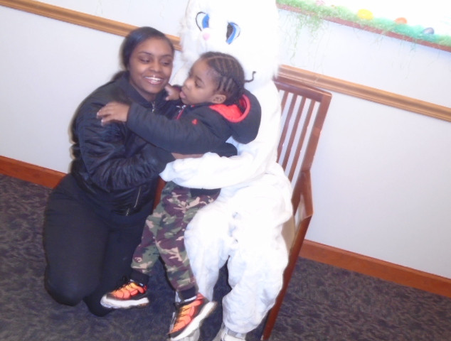 Bunny at First Midwest Bank with  mom an