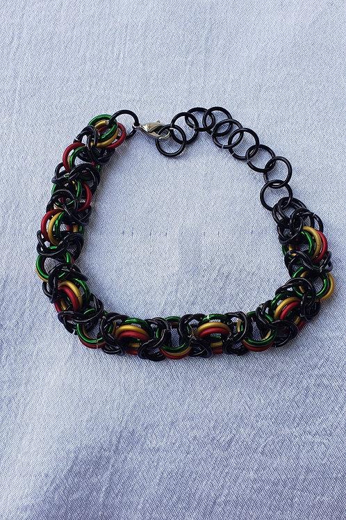 Rasta chain mail bracelet