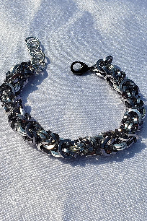 Black And Silver chainmail bracelet