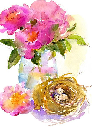 Pink Peonies w/Bird Nest - Prints