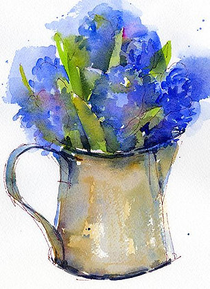 Blue Hyacinth in Rustic Pitcher - Prints