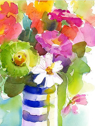 Striped Vase Bouquet- Prints
