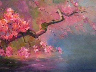 Exploring cherry blossom branches in oil