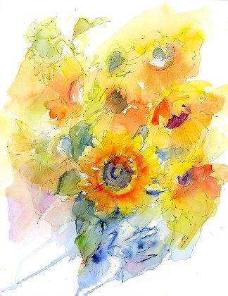 Sunflowers in Blue&White Vase - Prints