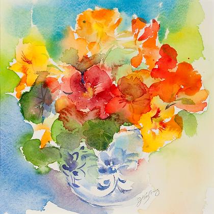 Blue & White Vase of Nasturtiums - 8x10