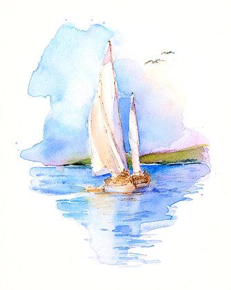 Sailboats & Seagulls - 8x10