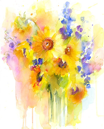 Sunflowers & Delphinium - Prints