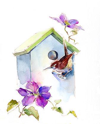 Wren w/Clematis & Birdhouse - 8x10