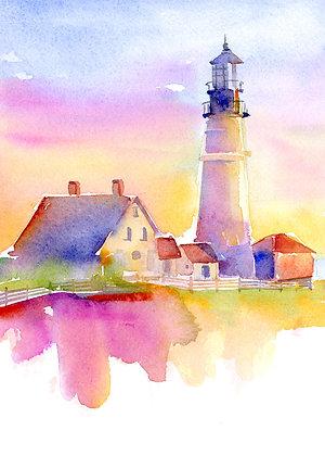 Lighthouse w/Barn - Prints