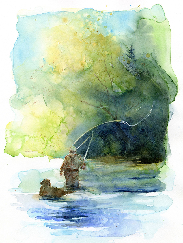 fly fishing, sunlight, stream, man, dog