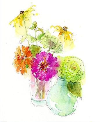 Zinnias in Vase - Prints