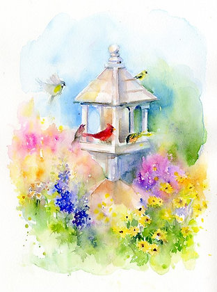 Birdfeeder w/Birds & Flowers - Prints