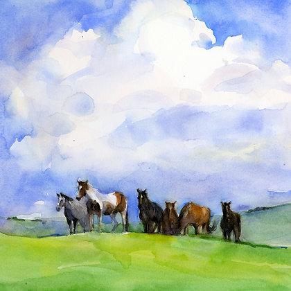 Horses w/Clouds - Prints