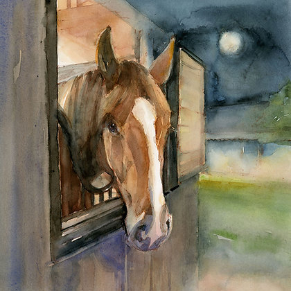 Horse in Stable w/Moonlight - Prints