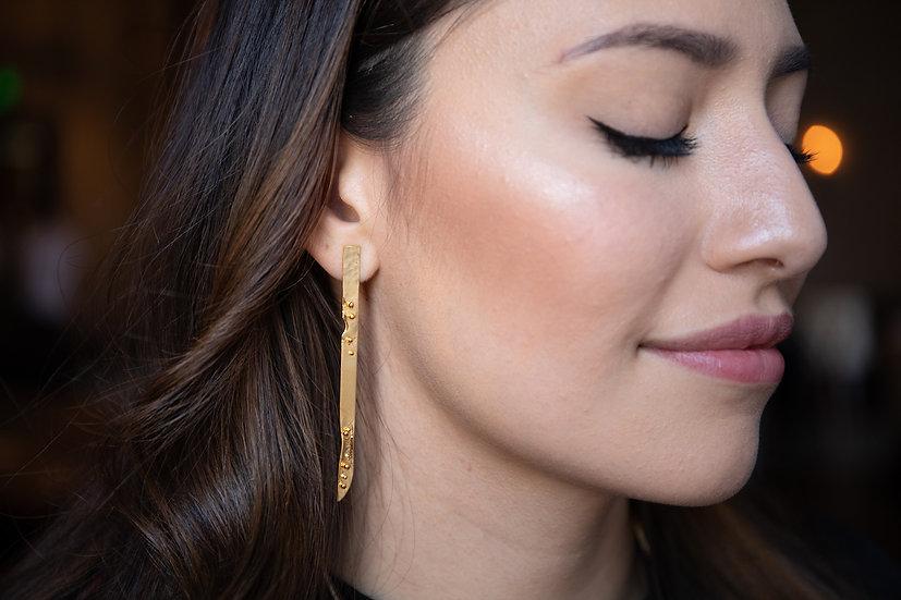 Long Granulation Earrings 14K