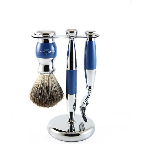 Ensemble de rasage bleu et chrome (Mach3)