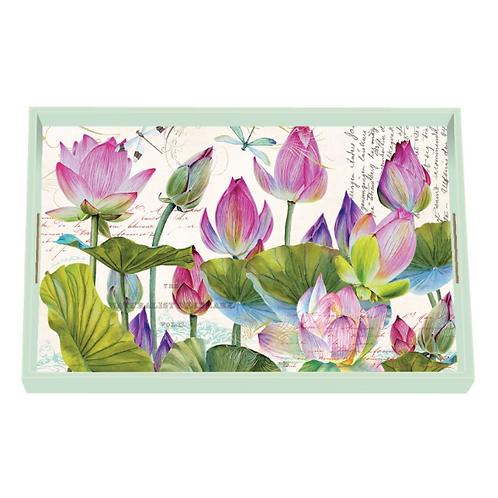 Plateau bois laqué - Water Lilies