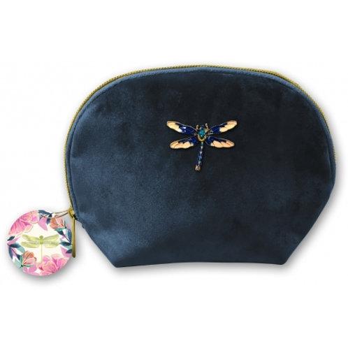 Trousse velours - Bleu Libellule