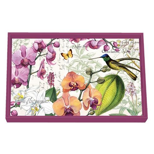Plateau bois laqué - Orchids in Bloom