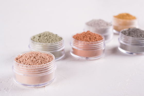 Set of different cosmetic clay mud powde