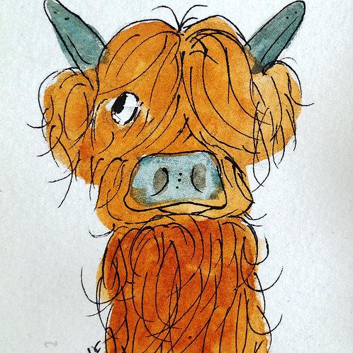 Mini McDoodle. Original and unique highland cow artwork, free gift box