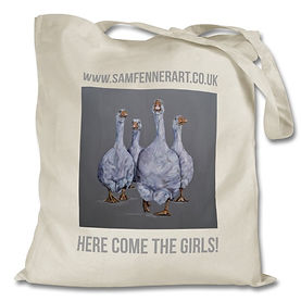 Here Come The Girls geese tote bag by Sam Fenner
