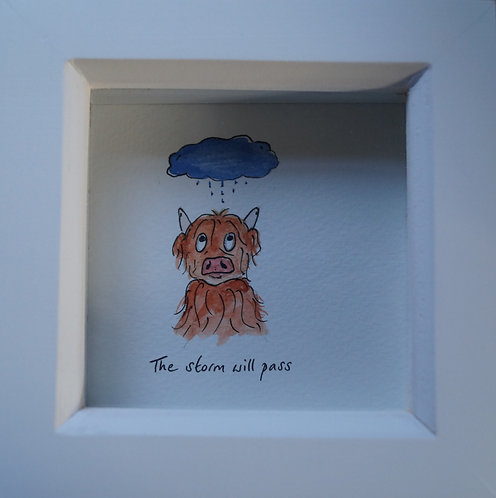 'The storm will pass' McDoodle. Original and unique cow artwork, free gift box