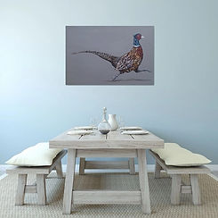 Fleeing The Pheasant Plucker, original pheasant painting by Sam Fenner, acrylic on canvas.