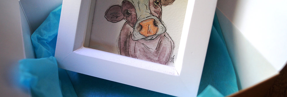 Moodle. Original and unique cow artwork, free gift box