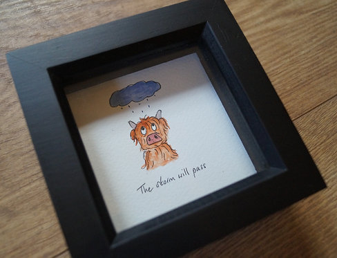 'The storm will pass' McDoodle. Original and unique cow artwork, free gi