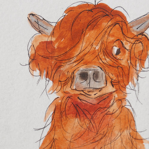 Mini McDoodle. Original and unique highland cow artwork, free gift box