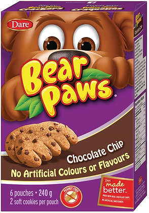 Dare Bear Paws Chocolate Chip Cookies 6 Pouches - 240g