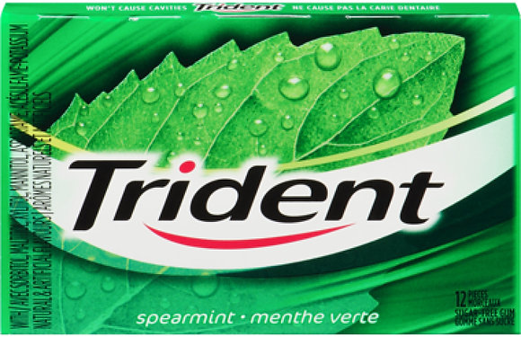 Trident Sugar-Free Gum, Spearmint - 12x12 - .62lb(281g)