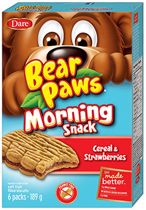 Dare Bear Paws Cereal & Strawberry Cookies 6 Pouches - 189g