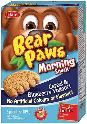 Dare Bear Paws Cereal & Blueberry Yogourt Cookies 6 Pouches - 189g