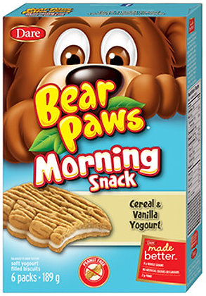 Dare Bear Paws Cereal & Vanilla Yogourt Cookies 6 Pouches - 189g