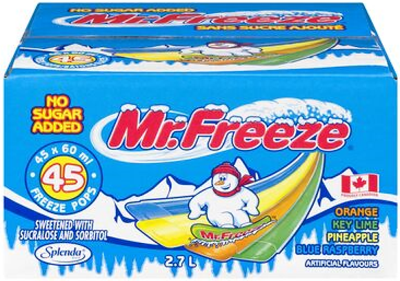 Mr Freeze No Sugar Added Freeze Pops - 2700g