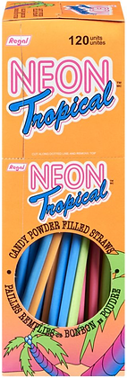 Neon Tropical Candy Powder Filled Straws - 120ct - 348g