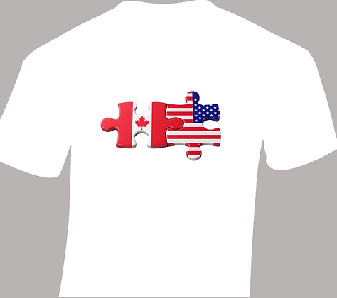 Canadian - American Puzzle Pieces T-Shirt