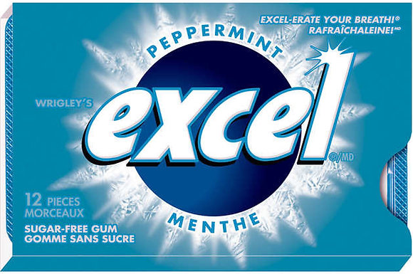 Excel Sugar-Free Gum, Peppermint - 12x12 - .75lb(340g)