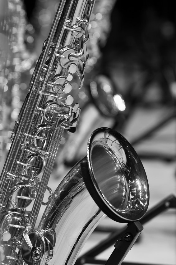 black and white saxophone picture