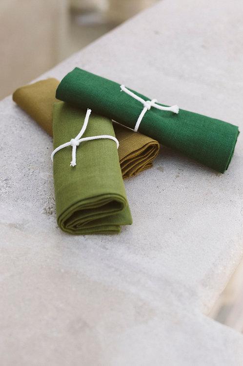 3er-Set Serviette Leinen #2 uni / moos–grün–khaki
