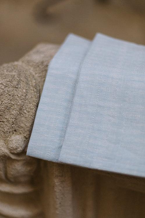 Serviette Leinen #1 gemustert oder uni / hellblau