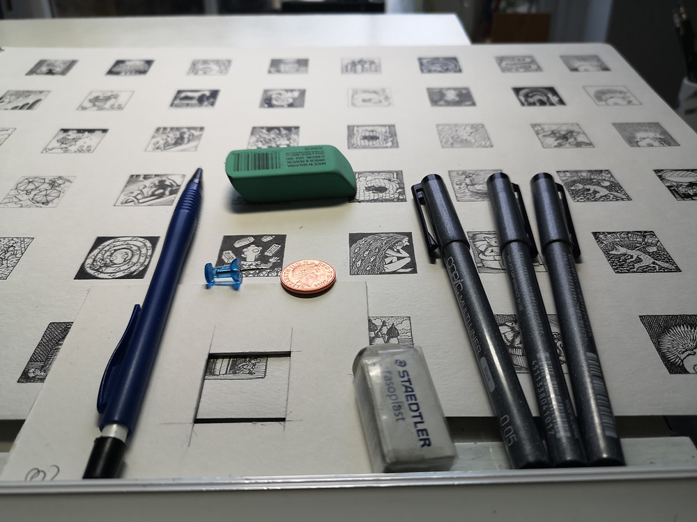 Art tools for one inch drawings