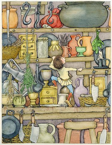 From 'ジャックと豆の木' - my picture book retelling of 'Jack & the Beanstalk' (福音館書店Fukuinkan Shoten, Japan)