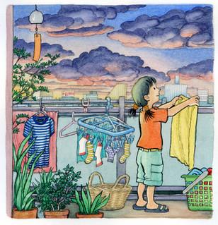 From '夜空をみあげよう' (Yozora o Miage yo (Look at the Night Sky) - picture book written by Yuriko Matsumura 松村由利子, (福音館書店 Fukuinkan Shoten, Japan)