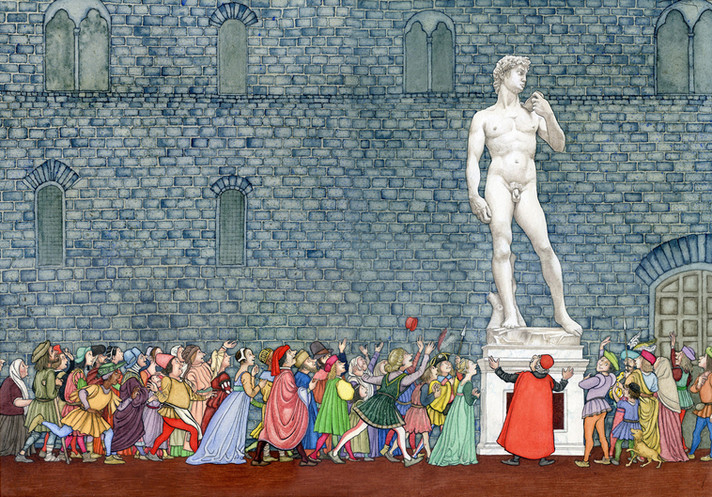 From 'Stone Giant - Michelangelo's David and How He Came to Be' - picture book written by Jane Sutcliffe, (Charlesbridge, USA)