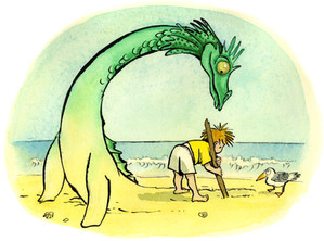 Tribute drawn for Front Street USA, on the release of Crockett Johnson's 'The Magic Beach'