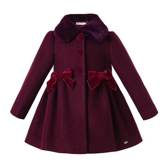 Пальто винного цвета для девочки